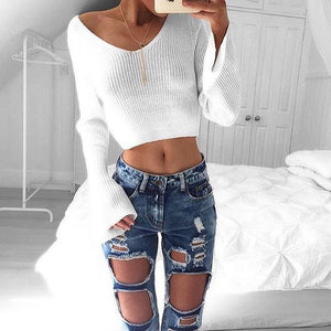 V-Neck White Long Sleeve Sweater