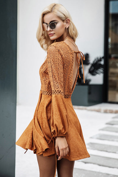 V Neck Suede Lace Dress