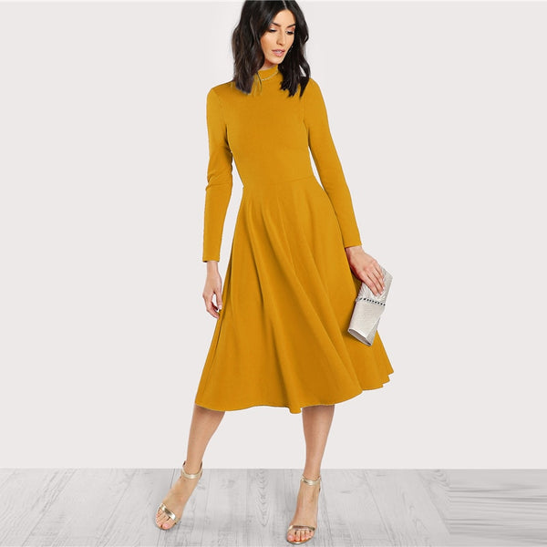 Plain Fit and Flare Elegant Midi Dress