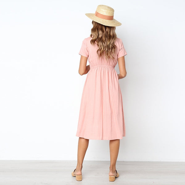 Summer Short Sleeve V Midi Dress