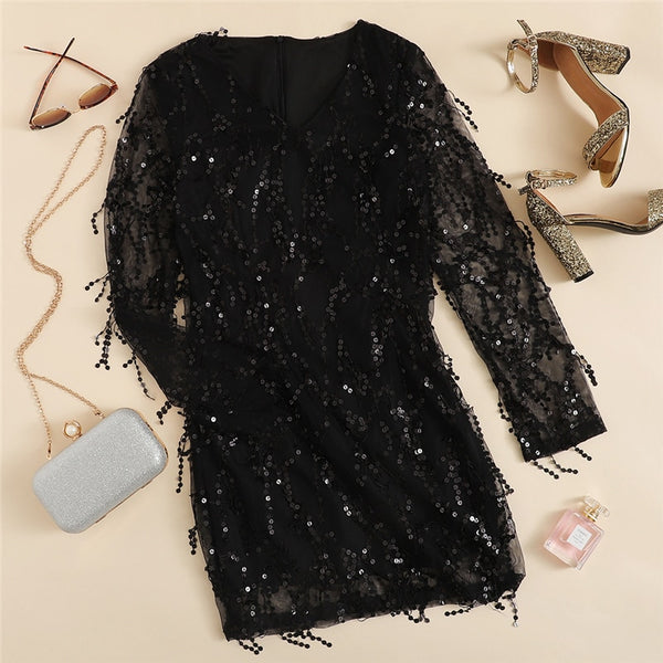 Mesh Fringe Overlay Sequin Dress
