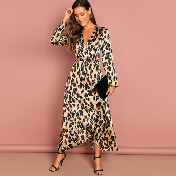 Wrap Satin Leopard Dress