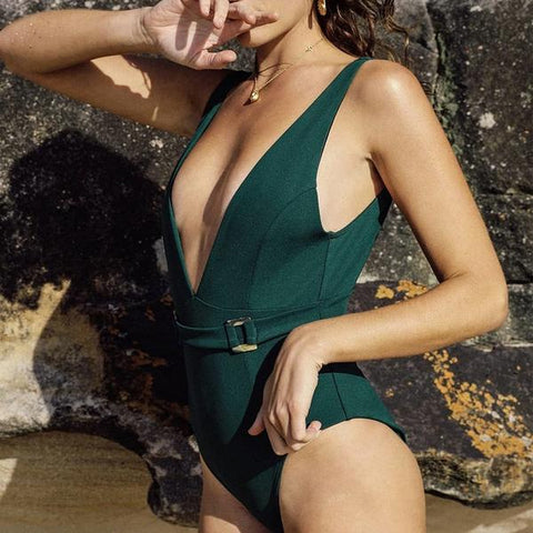 Green Deep V Swimsuit