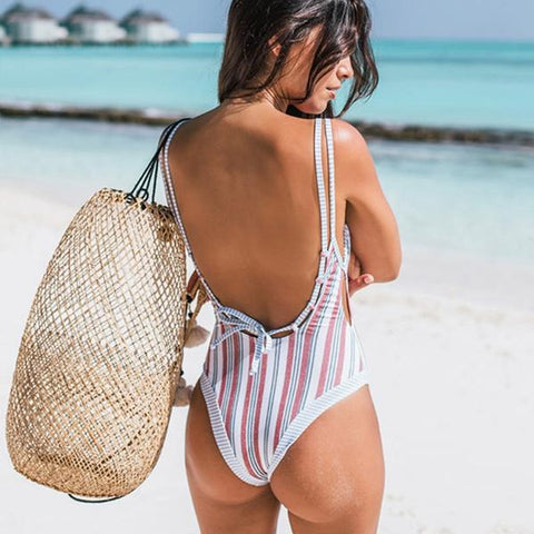 Striped Push Up One Piece Swimwear