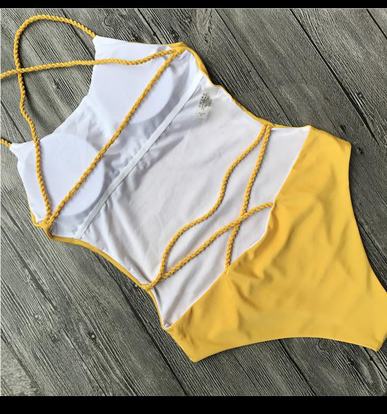 Lace Up Backless Swimsuit
