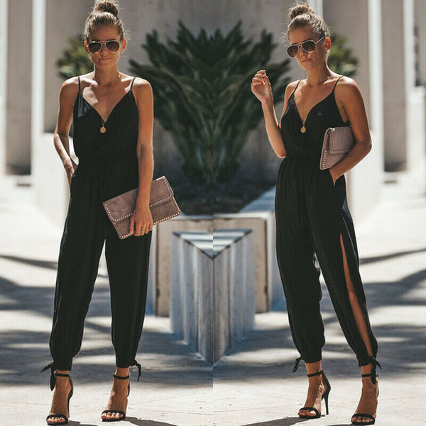 Casual Sleeveless V- Neck Jumpsuits