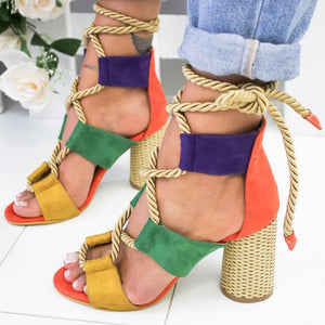 Gladiator Multi-Color Heels Sandals