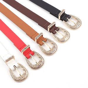 Retro Caving Pin Buckle Belts