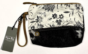 Floral & Hair-On Leather Myra Pouch