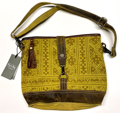 Yellow & Leather Myra Shoulder Bag