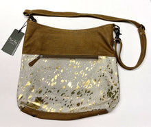 Load image into Gallery viewer, Leather & Gold Hair-On Myra Shoulder Bag