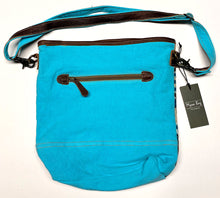 Load image into Gallery viewer, Teal Canvas & Tassel Myra Shoulder Bag