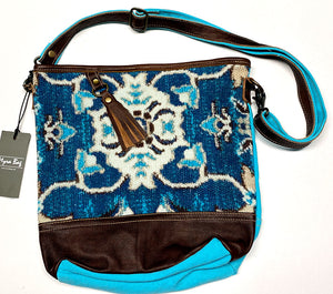 Teal Canvas & Tassel Myra Shoulder Bag