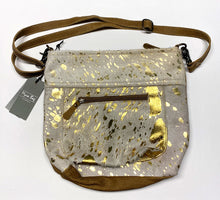 Load image into Gallery viewer, Gold Leather Myra Shoulder Bag