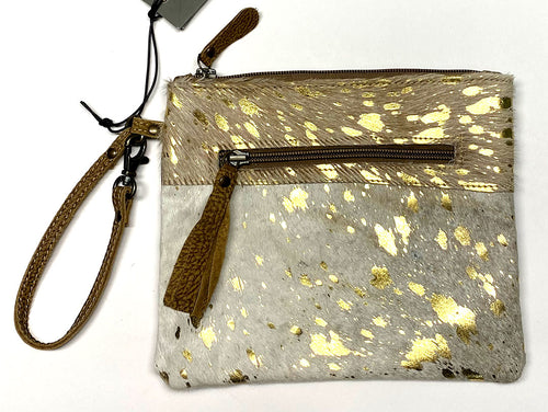 Gold Hair-On Leather Myra Pouch