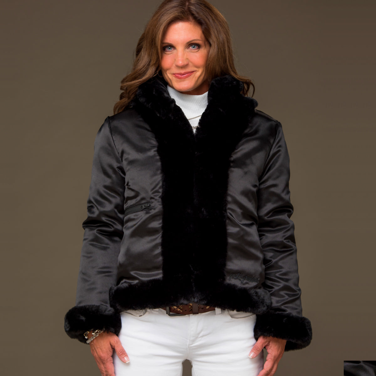 Black Faux Fur Reversible Bomber Jacket - S