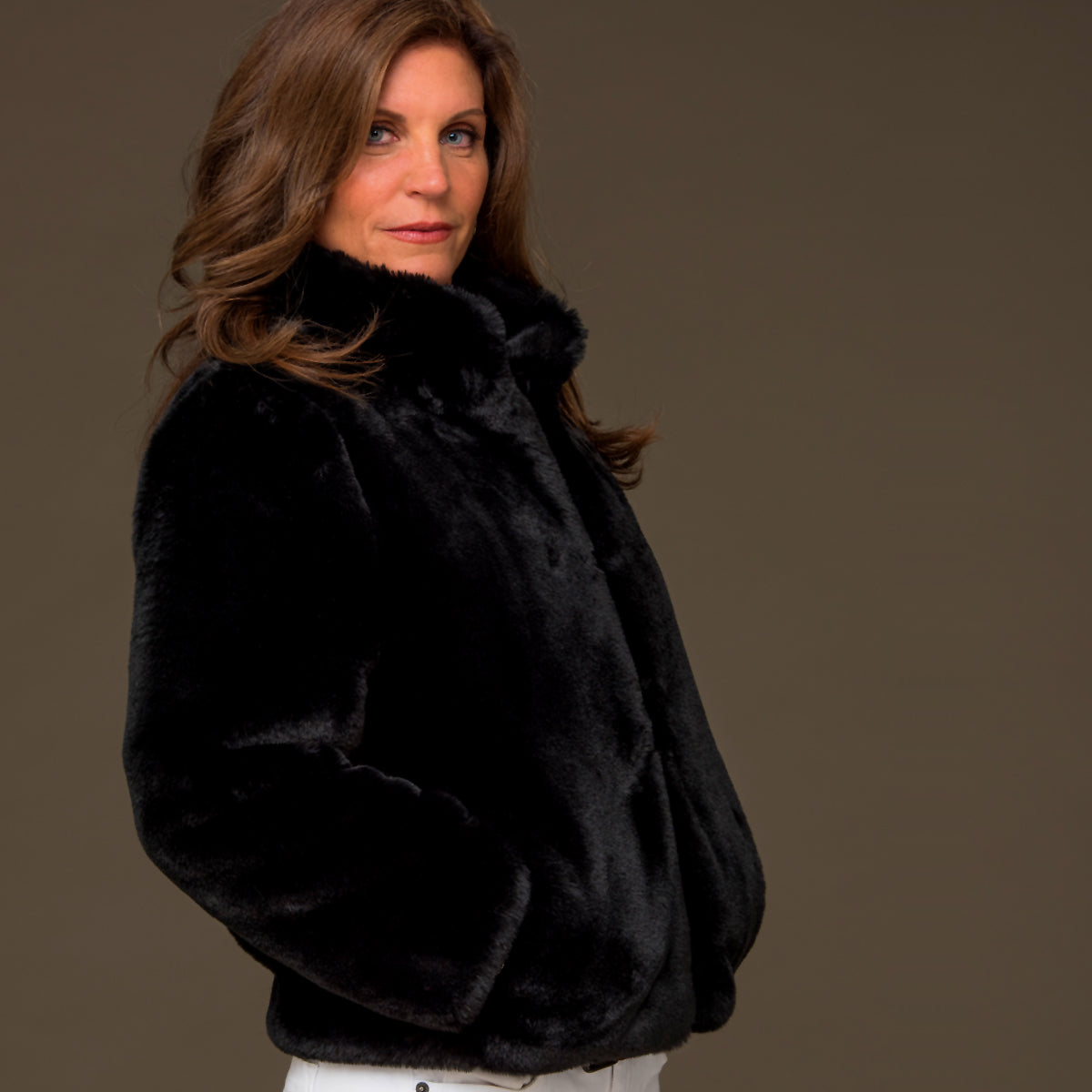 Black Faux Fur Reversible Bomber Jacket - M