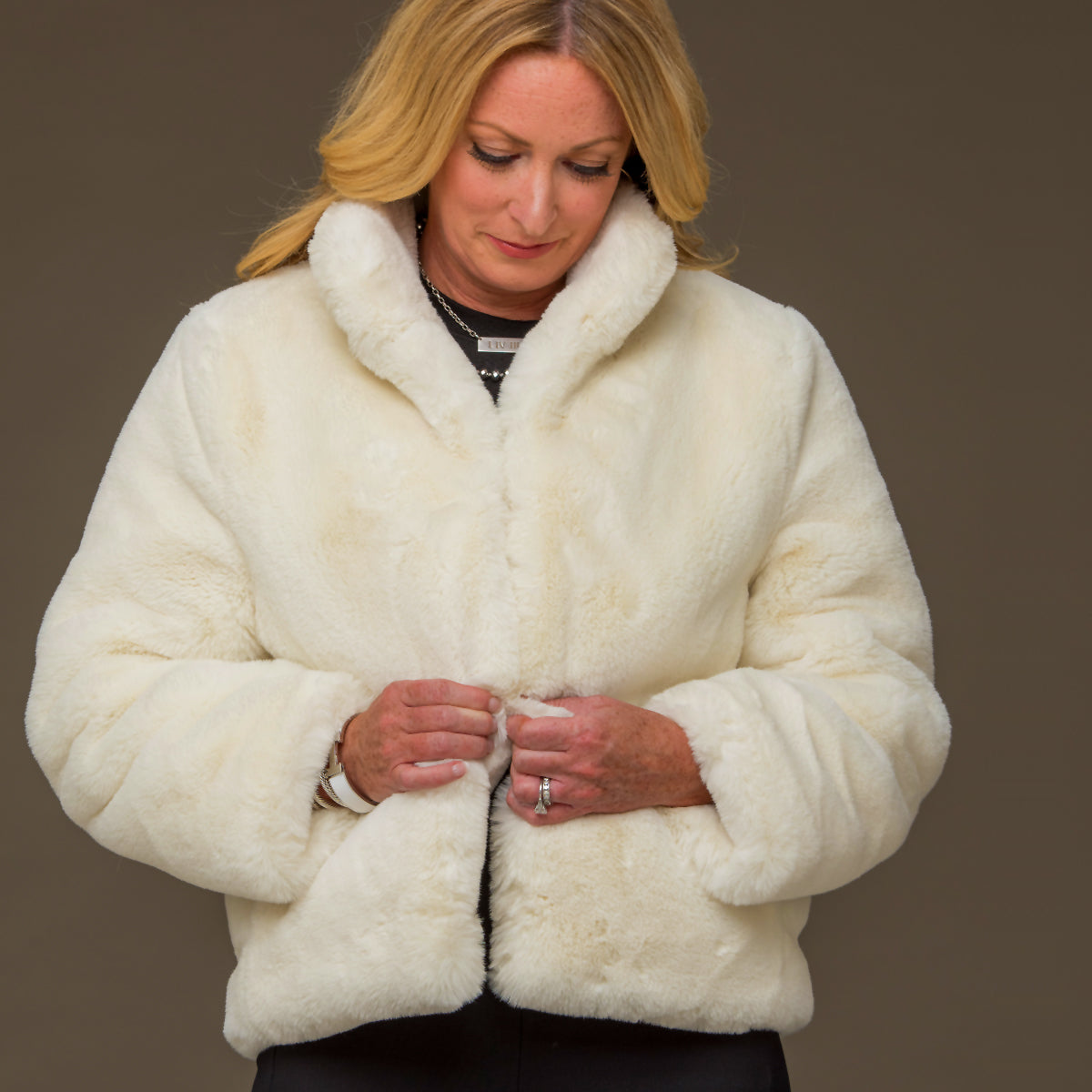 White Faux Fur Reversible Bomber Jacket - S