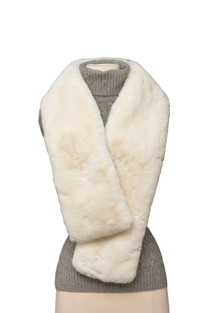 White Faux Fur Reversible Scarf