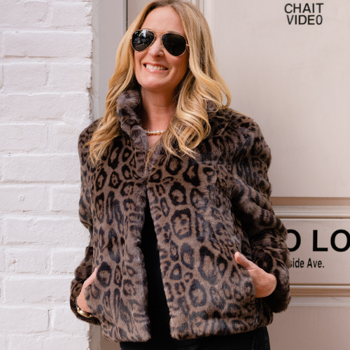 Grey Leopard Faux Fur Reversible Blakely Bomber
