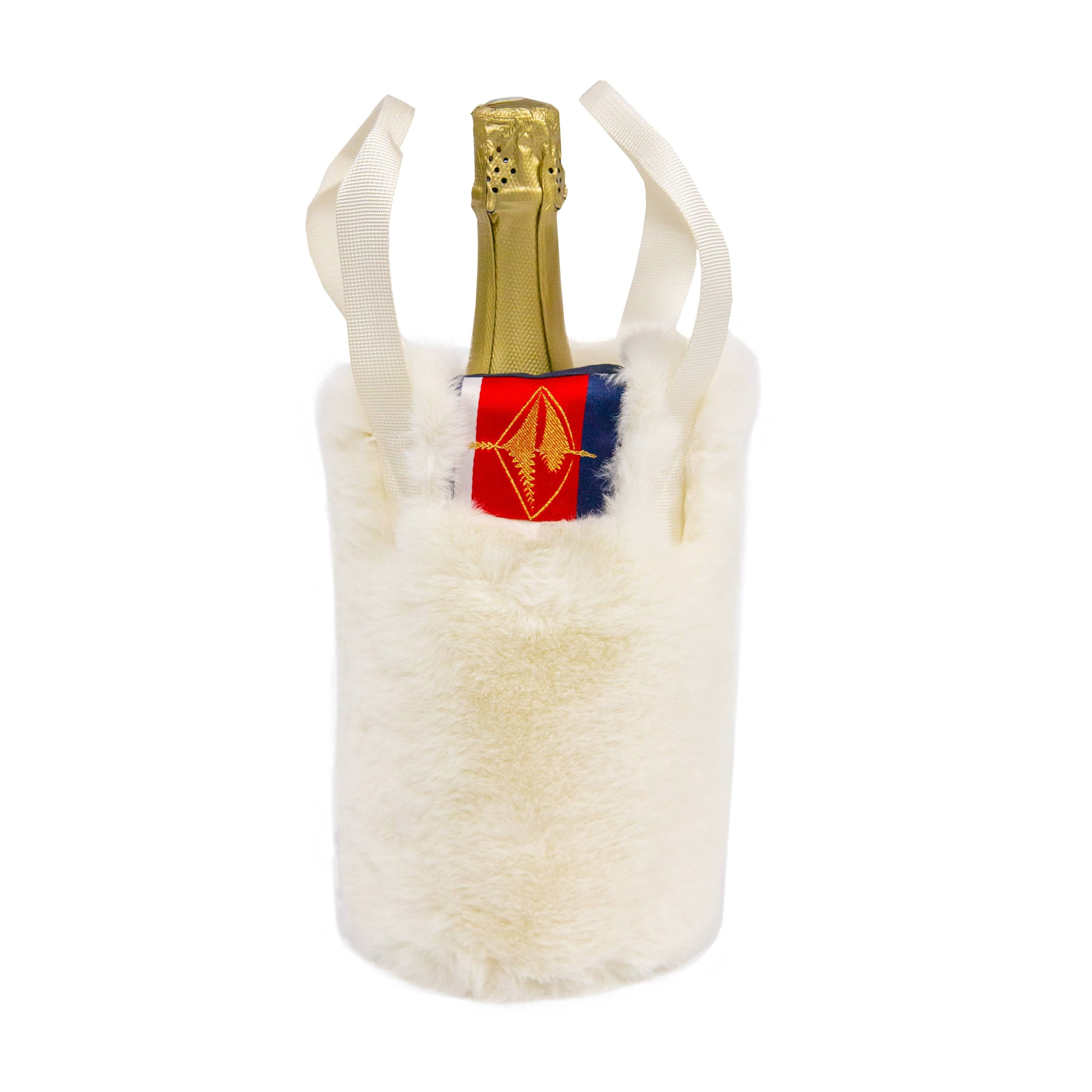 Amazon Luxe Faux Fur White Mink Wine Holder