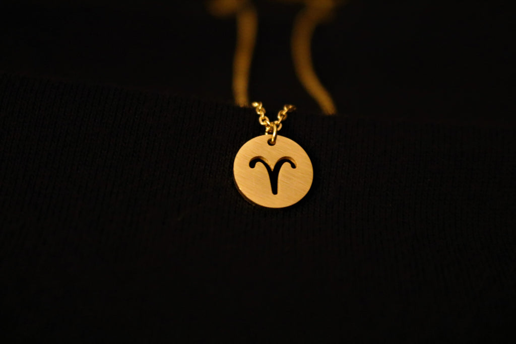 Gold Aries Zodiac Horoscope Necklace