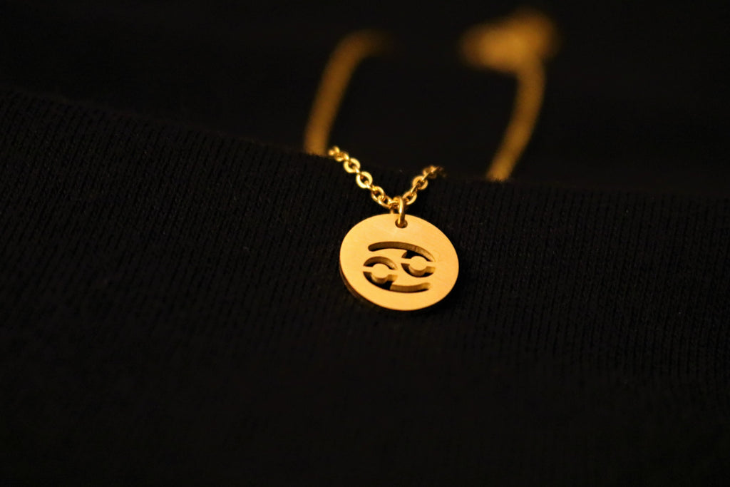 Gold Cancer Zodiac Horoscope Necklace