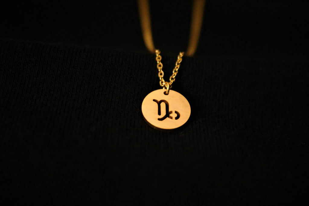 Gold Capricorn Zodiac Horoscope Necklace