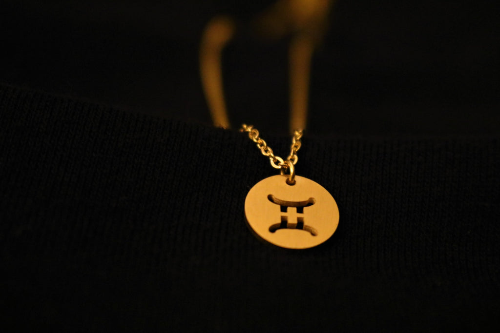 Gold Gemini Zodiac Horoscope Necklace