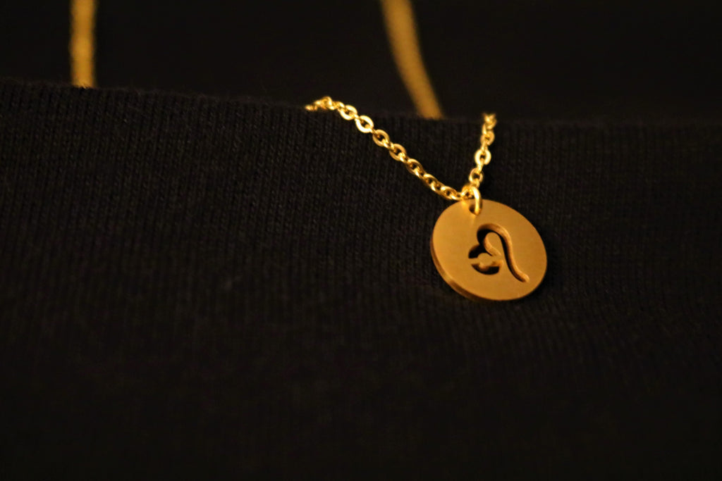 Gold Leo Zodiac Horoscope Necklace