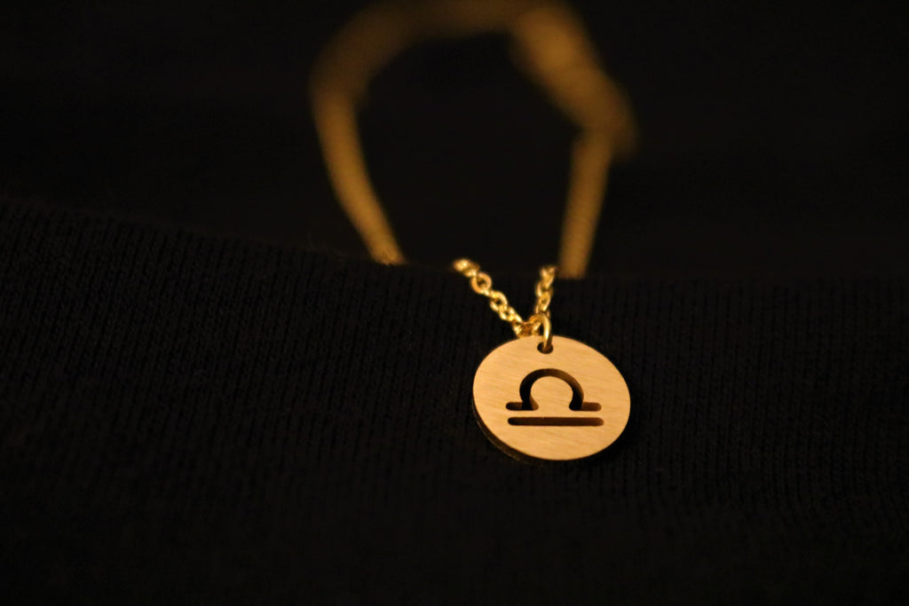 Gold Libra Zodiac Horoscope Necklace
