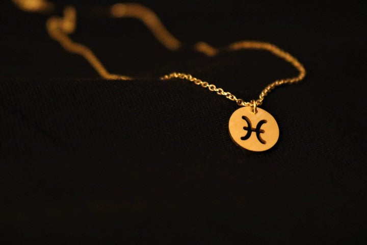 Gold Pisces Zodiac Horoscope Necklace