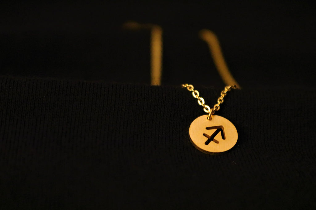 Gold Sagittarius Zodiac Horoscope Necklace