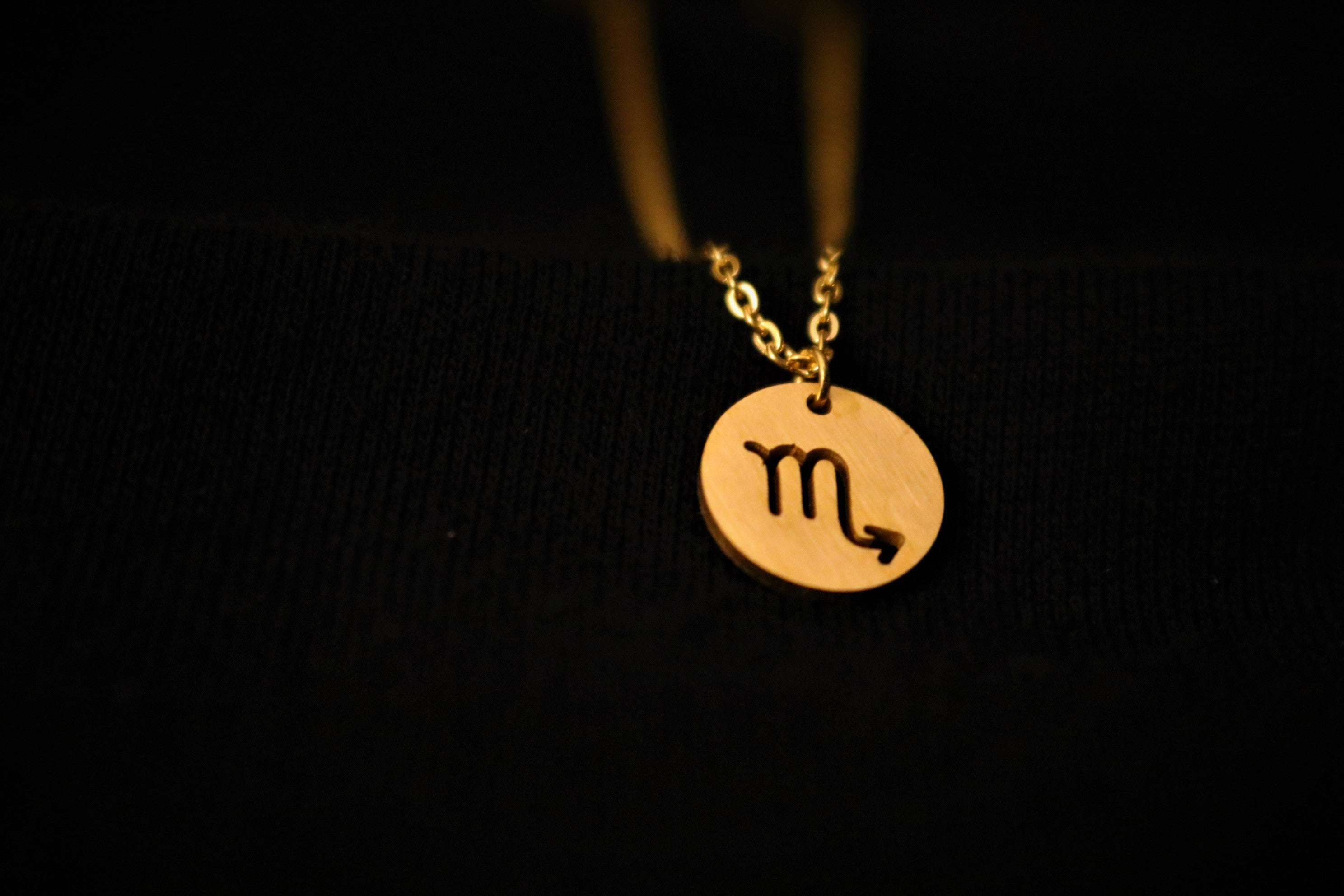 Gold Scorpio Zodiac Horoscope Necklace