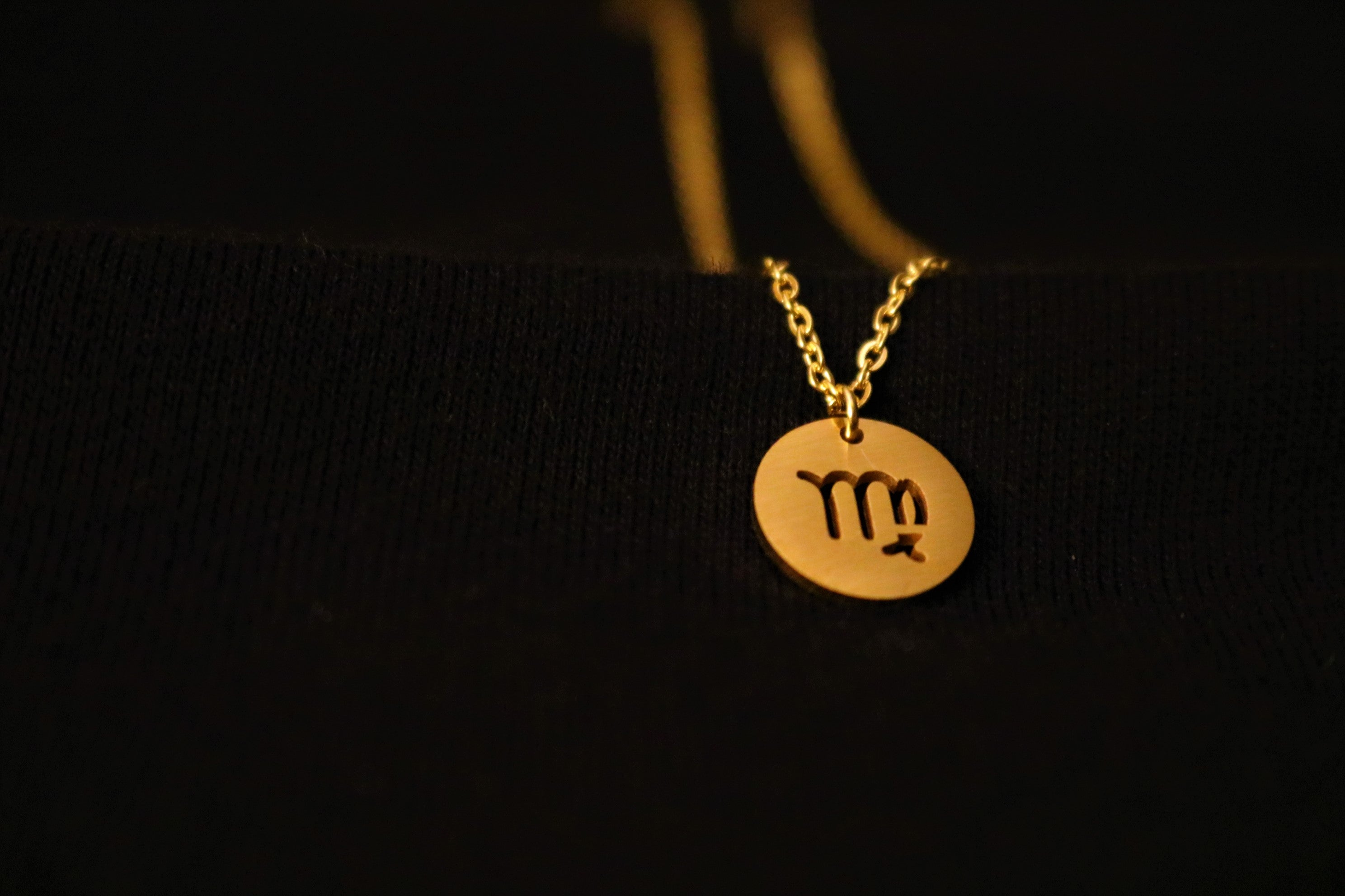 Gold Virgo Zodiac Horoscope Necklace