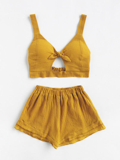 Mustard Knotted Crop Top with Shorts