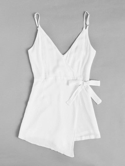 Mariah Plain Side Knotted Romper