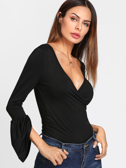 Zola Plunged Long Sleeve Top