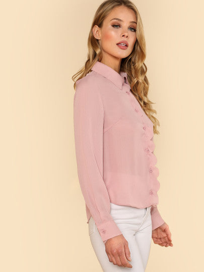 Button Up Rose Blouse