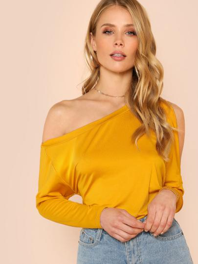 Yellow One Shouldered Top