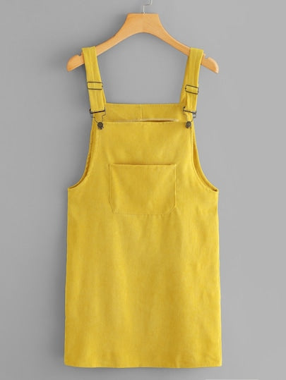 Yellow Overall Dress with Pockets