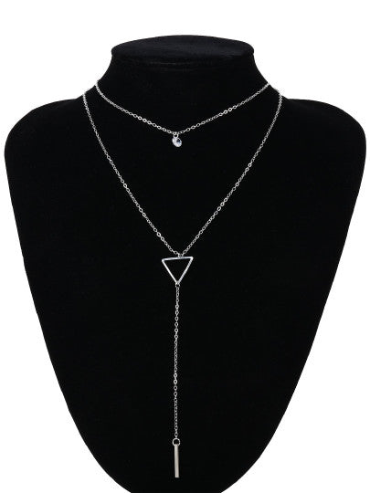 Layered Necklace with Triangular Pendant