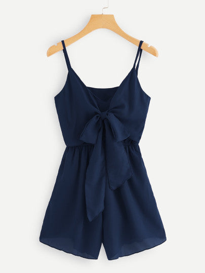 Zen Navy Blue Front Knotted Romper