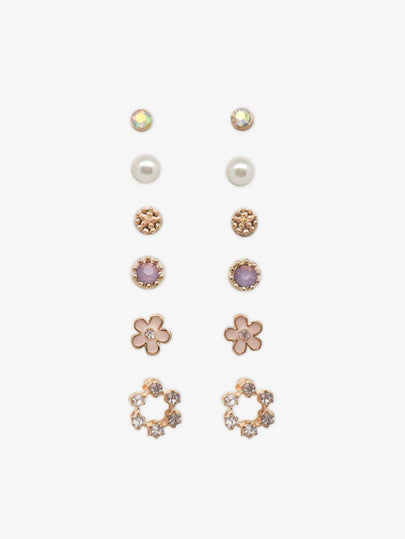 Flowers and Pearls Earring Set