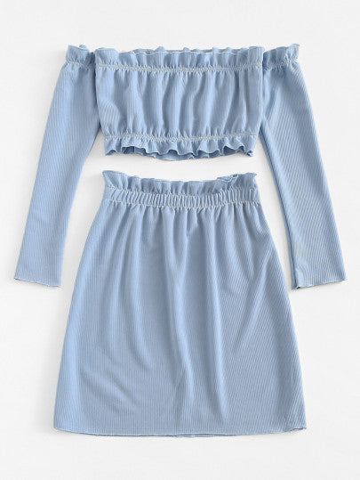 Frilled Baby Blue Top with Skirt