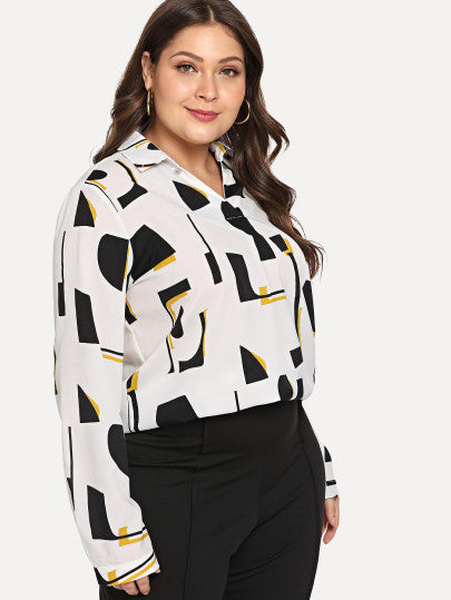 Plus Size Geo Collared Blouse