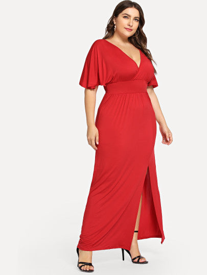 Roma Red Split Plus Size Dress