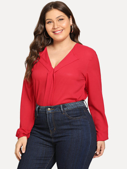 Plus Size Red Vneck Blouse