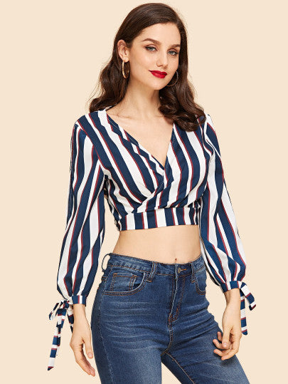 Amber Wrapped Stripe Blouse