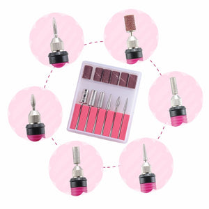 Electric Power Manicure Nail Drill Machine with 6 Bits Set nail drill